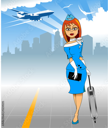 stewardess and aircraft