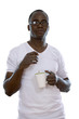 African american with cup tea or coffee
