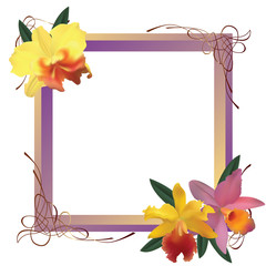 Frame with orchids