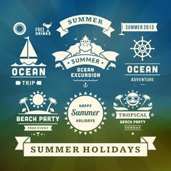 Retro summer design elements. Vector illustration.