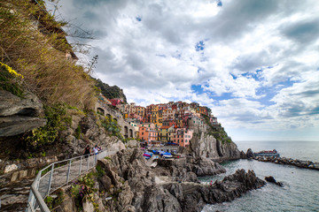 Ligurian sea coast at Manarola village, Italy.