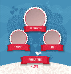 template for family tree. Tree frame, ribbon, birds