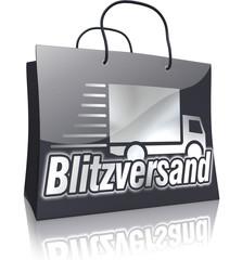 Einkaufstasche Schwarz-Silber-Serie: Blitzversand