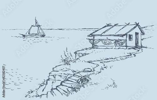 农村房屋铅笔画