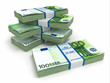 Packs of euro on white background.