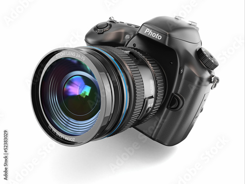 Digital photo camera on white isolated background. - 52383029