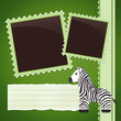 Photo album page with zebra