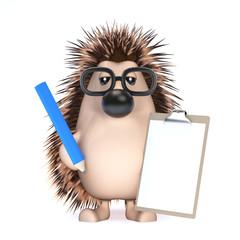 Cute hedgehog makes a list