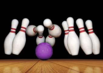 Bowling Pins and Ball Strike Illustration