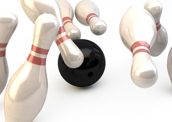 Bowling Pins and Ball - Strike Illustration