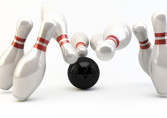 Bowling Pins and Ball - Strike Illustration 2