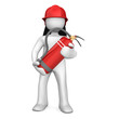 canvas print picture - Fireman With Extinguisher