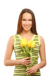 happy woman with yellow tulips over white