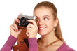 Beautiful young woman with camera