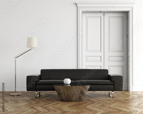 Contemporary classic living room, black leather sofa, wood floor