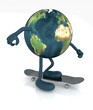 planet earth with arms and legs on skateboard