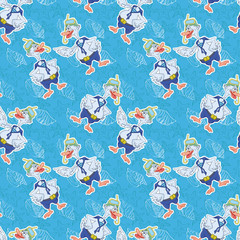 Seamless, cartoon goose divers