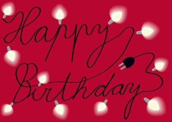 happy birthday card with text and lights