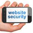 SEO web development concept: Website Security on smartphone