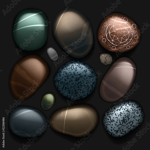 Stones pebble collection isolated on black, vector Eps10 image.