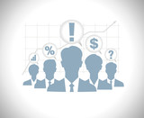 Business people team silhouettes with speech bubbles