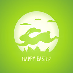 Happy Easter card with runing rabbit.