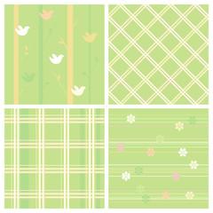 Green seamless easter paper set.