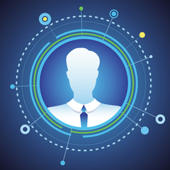 Vector businessman avatar in circle frame