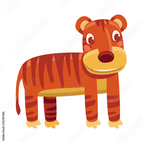 Vector cartoon tiger - funny character