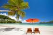 détente sur plage des Seychelles