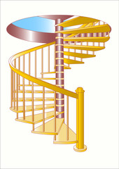 Light airy spiral staircase
