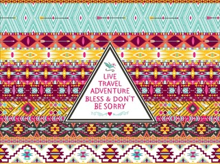 Hipster seamless aztec pattern with geometric elements