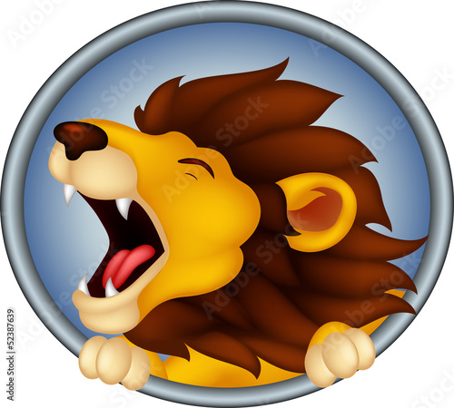 angry head lion cartoon roaring