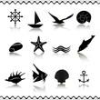 Icons sea and marine life. EPS 10