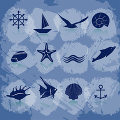 Icons sea and marine life in blue. EPS 10