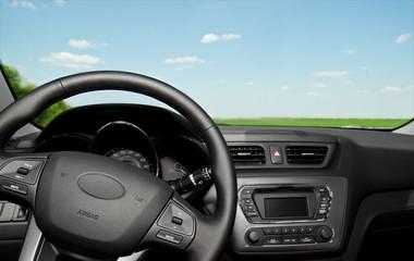 Car interior control panel and  wheel