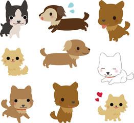 いろいろな種類の小型犬