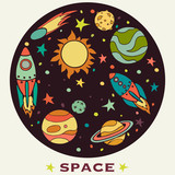 Set of cartoon space elements in circle: rockets, planets