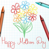 Children drawing for mothers day with crayon and flower