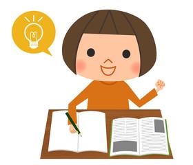 勉強する女の子-ひらめき