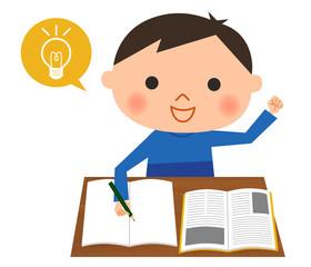 勉強する男の子-ひらめき