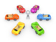Colorful cars around 3d small person.