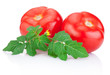 Two Juicy tomato with green leaves Isolated on white background