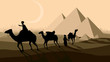 Vector bedouin caravan camels against over pyramids.