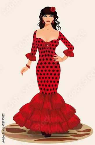 Young elegance flamenco girl, vector illustration