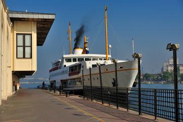 Classic ferry of Istanbul at the seaport - Istanbul vapurlari