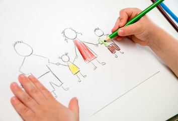 Child drawing happy family, metaphor for full family and happine