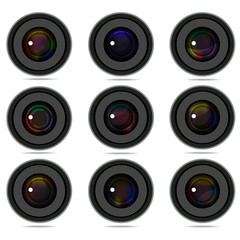 Set of 9 camera photo lens graphic vector eps 10