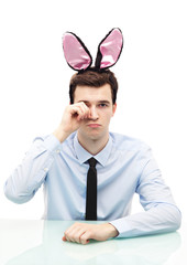 Man wearing bunny ears