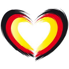 Flagge Deutschland - Pinselstrich - Herzform